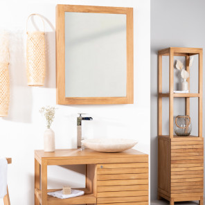 Teak mirror bathroom cupboard