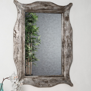 Modern bronze-coloured weathered-finish wood mirror 70 x 100 cm