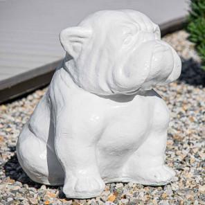 Modern bulldog statue white 40cm