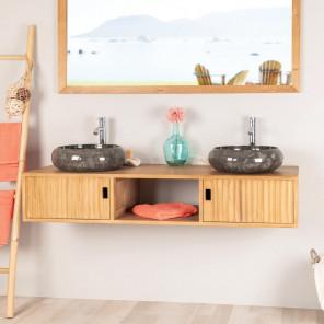 Mueble de cuarto de baño suspendido para lavabo doble de teca Mya 145 cm