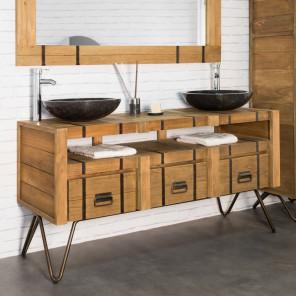 Mueble lavabo doble de mindi y acero 160 LOFT natural