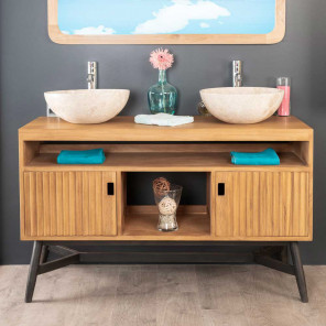 Mya teak double-sink vanity unit 130 cm