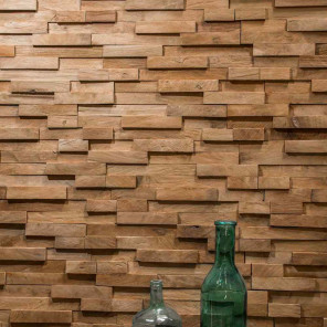 Natural recycled teak block cladding