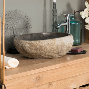 river stone sink