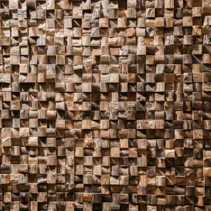 habillage mur en teck recyclé naturel carré