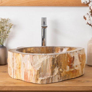 Petrified fossil wood double bathroom sinks 45 cm