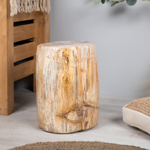 Petrified wood pouffe stool