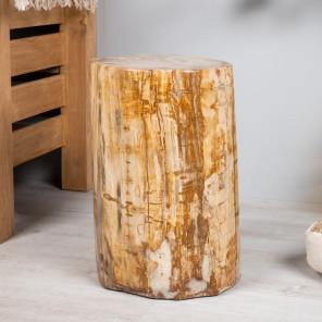pouf bois pétrifié fossilisé