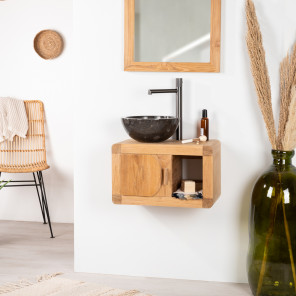 Retro Collection solid teak small wall-mounted bathroom or toilet room unit