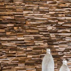 Revestimiento de teca reciclada envejecido 20 x 50 cm