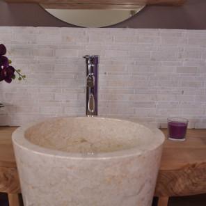 Revêtement parement mosaïque en marbre naturelle crème
