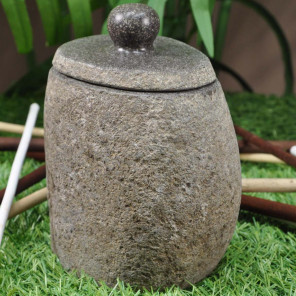River stone toothbrush holder with lid