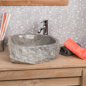 Roc large grey marble countertop bathroom sink