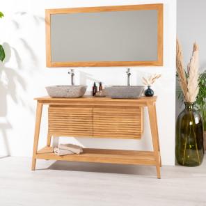 Scandinavian teak bathroom vanity unit 140