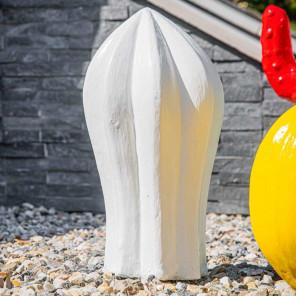 Sculpture cactus deco jardin 30cm blanc