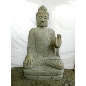 Sculpture de Bouddha en pierre volcanique offrande et chapelet 1m20