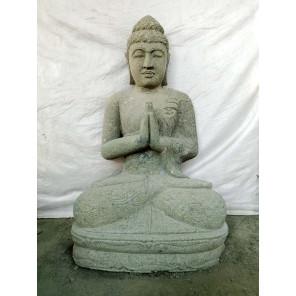 Sculpture en pierre de Bouddha position prière zen 1 m