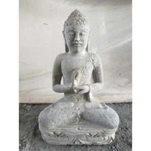 Sculpture en pierre volcanique de Bouddha position chakra jardin 60 cm