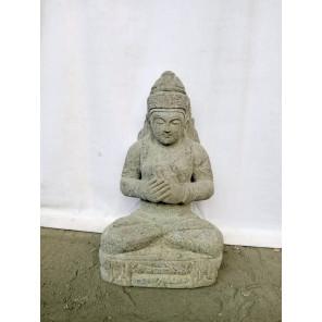 Seated Balinese goddess Dewi Tara natural stone statue 50 cm