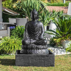 Seated Buddha black weathered-finish garden water feature 1 m