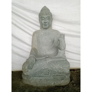 Seated Buddha volcanic rock outdoor garden statue necklace 120 cm