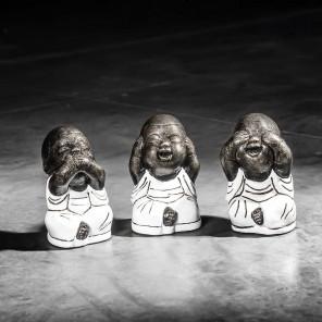 Set moines de la sagesse petit modèle Blanc 18 cm