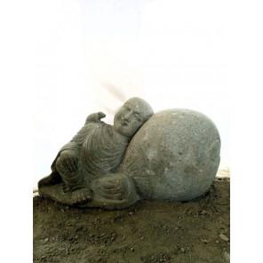 Shaolin monk natural volcanic rock outdoor garden statue 1 m