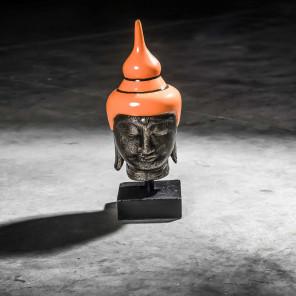 Small orange Buddha head - 40 cm