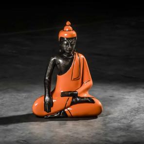 Small orange seated meditating Buddha - 45 cm