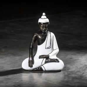 Small white seated meditating Buddha - 45 cm