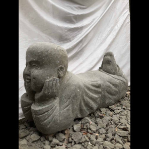 Reclining stone monk garden statue 105 cm