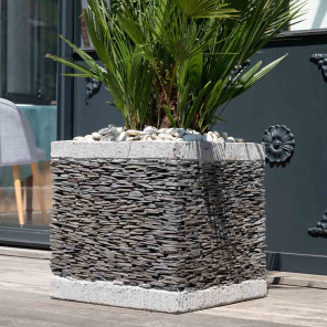 Square cube natural slate terrace garden planter 50 cm