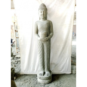 Standing Buddha stone statue offering with bowl 150 cm