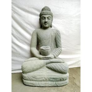 Statue Bouddha assis pierre volcanique position chakra 60 cm