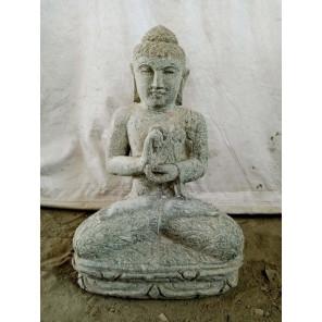 Statue zen Bouddha assis pierre volcanique position chakra 60 cm