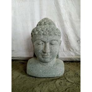 Statue Buste de Bouddha en pierre volcanique 40 cm