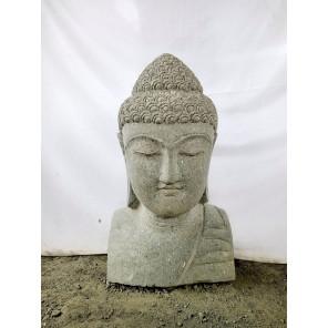 Statue Buste de Bouddha en pierre volcanique 70 cm déco zen