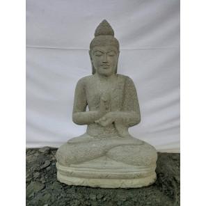 Statue de Bouddha assis en pierre volcanique position Chakra 80cm