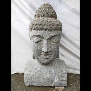 Statue de Bouddha buste en pierre volcanique 40 cm
