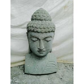 Statue de Bouddha buste en pierre volcanique extérieur zen 70 cm