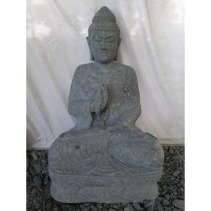 Statue de Bouddha en pierre naturelle chapelet 1m20