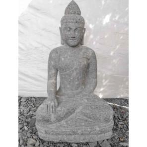 Statue de Bouddha en pierre volcanique position offrande 1 m