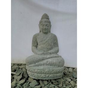 Statue de Bouddha pierre volcanique position offrande jardin zen 50 cm