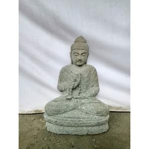 Statue de jardin Bouddha assis en pierre chapelet et sérénité 50 cm