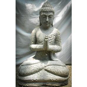 Statue de jardin Bouddha assis en pierre volcanique position prière 80cm