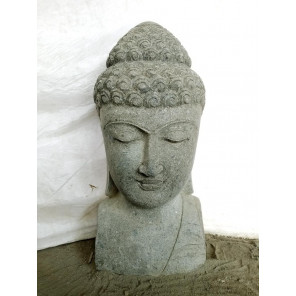 Statue de jardin buste de Bouddha pierre naturelle 70 cm