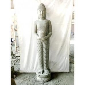 Statue en pierre Bouddha debout offrande avec bol 1m50