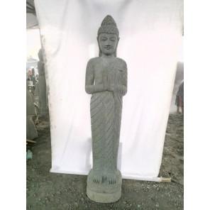 Statue de jardin en pierre Bouddha debout prière 2 m
