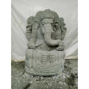 Statue de jardin en pierre Ganesh extérieur 100 cm