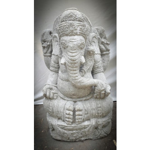 Statue de jardin Ganesh en pierre volcanique 90 cm
